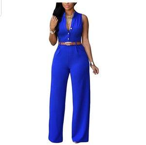 Royal Blue Belted Jumpsuit